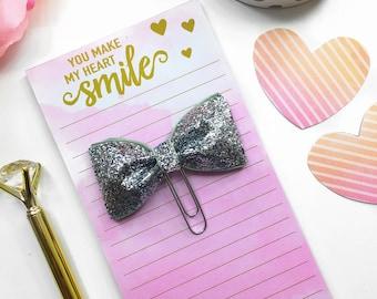 Silver Glitter Planner Clip / Planner Bow Clip / Silver Glitter Bow Paper Clip