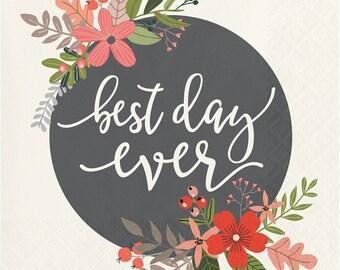 Best Day Ever Beverage Napkins/ Best Day Ever Napkins/ Best Day Ever Wedding Napkins/ Fancy Wedding Napkins