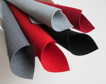 Wool Felt Set, Unchain My Heart, Color Story, Merino Wool, Dark Red, Slate Grey, Black, Red, Grey, Wool Fabric, Felt Supply, Valentine