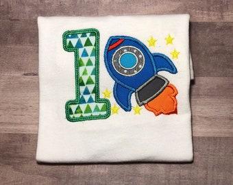 Rocket Ship Birthday Shirt, Up Up and Away Birthday Party, Boys Birthday Shirt, 1st Birthday Shirt for Boys, Rocket Ship Birthday Party,