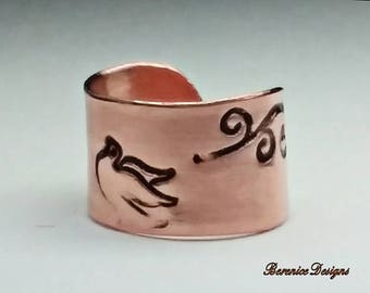 Copper Ear Cuff with Dove and Whimsical Branches