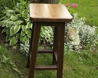 "Reclaimed /wood/ bar stool/ counter stool/ distressed base/ stained top/ colored 25"" to 30"" H"
