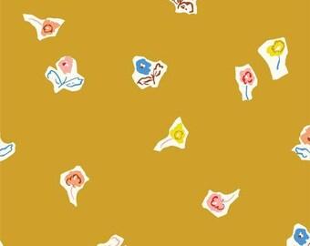Sidewalk Flowers - Gold - To Market To Market - Emily Isabella - Cloud9 Fabrics - Organic Cotton Fabric By the Half Yard