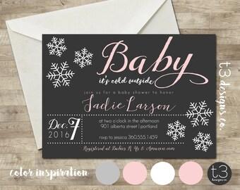 Girl Snowflake Baby Shower Invitation, Winter Baby Shower Invitation, Snowflake Invitation, pink Winter Baby Shower, Winter Wonderland Baby