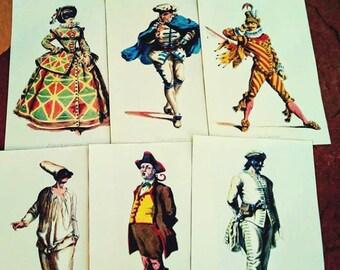 Italian Opera Prints, Colorful Costumes, Ball Masque