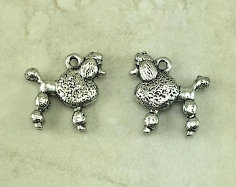 Poodle Dog Charm > Standard Fancy Breed Show Pet Family Toy Miniature - American made Lead Free Silver Pewter - I ship internationally