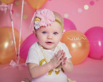 Pink and gold first birthday headband, pink baby headband, first birthday headband