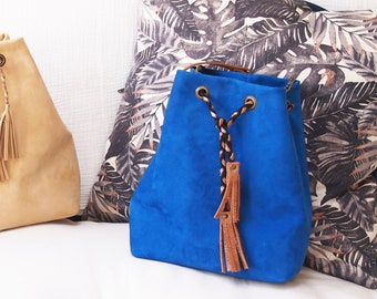 Mila leather bucket bag blue and camel leather nubuck with tropical cotton lining