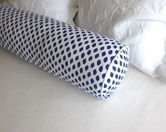 SAHARA indigo blue /white  bolster Pillow 8x36 daybed size