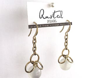 Dangle Earrings white Cat's Eye beads with raw brass ear wires