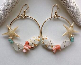 Starfish Hoop Earrings, Sea Glass Earrings, Real Starfish Earrings, Mermaid Hoop Earrings, GOLD FILLED
