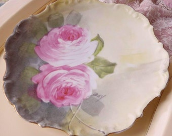 Limoges plate pink roses