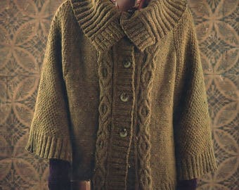 Cable Poncho, With Shawl Collar And Fingerless Gloves, Knitting Pattern. PDF Instant Download.