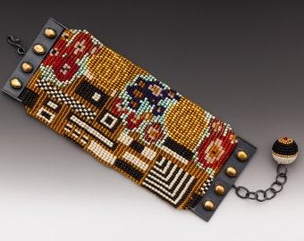 Klimt Bracelet, Klimt Beadwork, Klimt cuff, loom work cuff, seed bead cuff, beaded Klimt, the kiss, kiss cuff, kiss bracelet, kiss beadwork