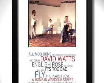 THE JAM - All Mod Cons Album Limited Edition Unframed A4 Art Print with Song Titles