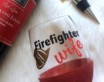 Firefighter Wife Stemless Glitter Wine Glass // Glitter Glass // Stemless Wine Glass // Firefighter Wife // Glitter Cup // Girl Gift