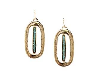 Paradise Palm Earrings, Turquoise Earrings, Inlay, Big Earrings, Statement Earring, Turquoise Jewelry, Chunky Earrings, Dangle Earrings