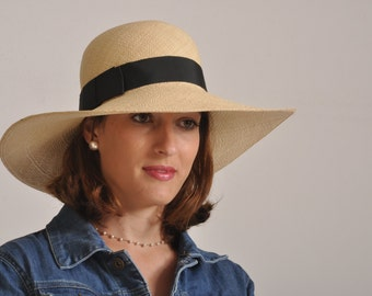 wide brim summer hat/ ladies Panama hat  / straw hat for women UK/ natural summer hat/ sun protection hat made in Israel/  ladies beach hat