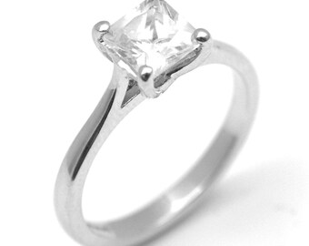 Solitaire Princess Cut .50ct Diamond Engagement Ring Natural Diamond Set in Platinum Gold UK Hallmarked (117)