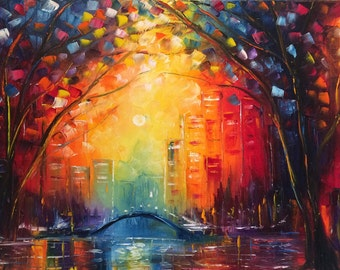"""sunset - city - wall art , trees autumn, abstract oil painting """" Radiance"""" by us artist Greg Gilreath"""
