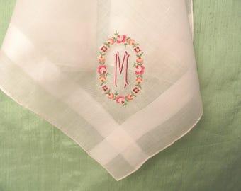 Monogram M embroidered petit point handkerchief / vintage pink hankie / initial M, letter M