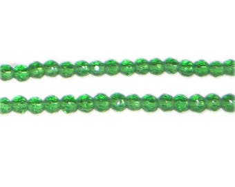 "4mm Green Faceted Round Glass Bead, 12"" string"