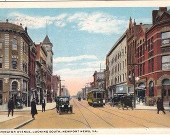 Newport vintage postcard. Washington avenue .City postcard