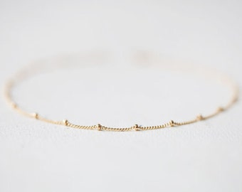 14k Gold Filled Beaded Chain Bracelet, Gold Bracelet, Minimalist, Thin Gold Bracelet