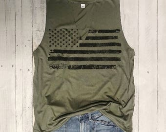 Distressed Flag...Army Choker Neck Muscle Tee, Raw Edge Armholes, Vintage Concert T-shirt,Chardonnay,Merlot, petite