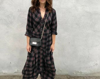 Flannel plaid lagenlook dress