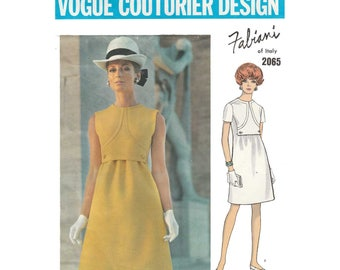 Vogue Couturier Design by Alberto Fabiani of Italy, Women's One-Piece A-Line Dress Pattern Misses' Size 12 Bust 34 Vintage 1960's Vogue 2065