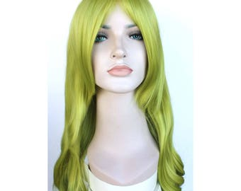 Olive green long curly wig. Ready to ship.