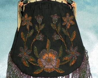 Exotic Vintage 1940's Bone Frame & Floral Beaded Black Purse / Handbag