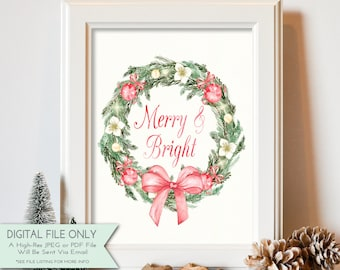 Merry & Bright Print - Watercolor Print - Holiday Print- Winter Home Decor - Christmas Printable - INSTANT DOWNLOAD Digital File Only {8x10}