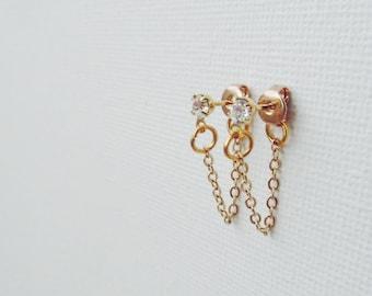 Hey There, Studs - Handmade. Drop Chain Detail. Cubic Accents. Gold Earrings. Dainty. Minimalist Earrings. Stud Earrings. Mod
