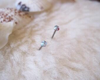 Niobium Post Earrings - Aurora Borealis Crystals (2mm, 4mm, or 5mm) - Hypoallergenic Earrings for Sensitive Ears / Nickel Free Stud Earrings