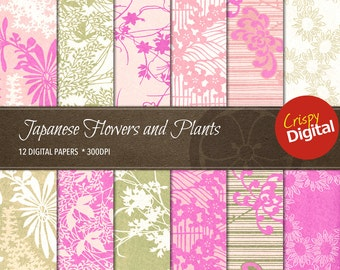 Digital Papers Flowers and Plants Japanese Patterns Vol. 10 12pcs 300dpi Instant Download Scrapbooking Printable Paper