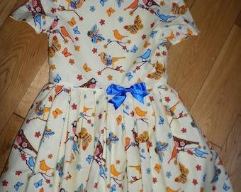 Original Handmade cotton girls dress Age 5-6, fully lined