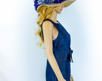 Kentucky Derby Hat, Blue Kentucky Derby Hay, Derby Hat, Fun Hats, Church Hat, Novelty Hat, Del Mar Opening Day Outfit, Horesracing Hat