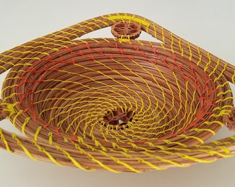 Yellow and Orange Pine Needle Basket Bowl - Natural Pine Straw Recycle Jewelry Dresser - Bowl Gift Handmade Made in FL USA - 73.00