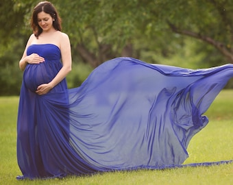 Maternity Gown-Royal Blue Maternity Dress-Split Front Maternity Gown-Maternity Gown for Photo Shoot-Maternity Gown Photography-Maxi Dress