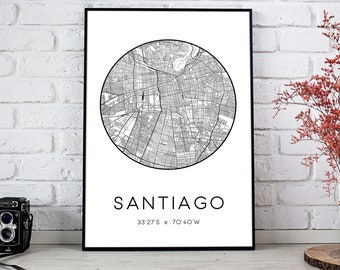Santiago City Map Print   Santiago poster, Santiago map art, Santiago wall art print, Santiago gift, Santiago map print