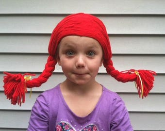 Pigtail wig, Costume wig, Halloween costume, Cowgirl costume, Rag Doll costume, Kids wig, Doll Hair, Yarn wig, Womens wigs, Costume party