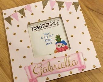 Pink Gold Dots and Bunting Girls Photo PICTURE FRAME for Kids Bedroom Baby Nursery Pf0092