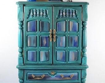 Boho Armoire, Vintage Dresser, Nursery Decor, Boutique, Craft Room Storage,  Chest