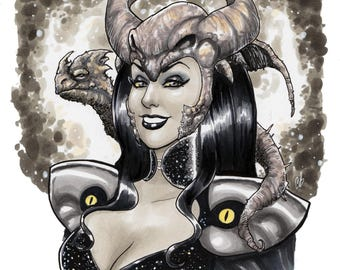 Dragon Sorceress Queen Fantasy Copic Marker sketch