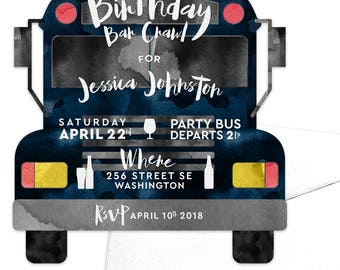 Party Bus Invitation Birthday Bar Crawl Pub Crawl Birthday Drinks Bachelor Party Bus Drinking Alcohol Girls Night Out