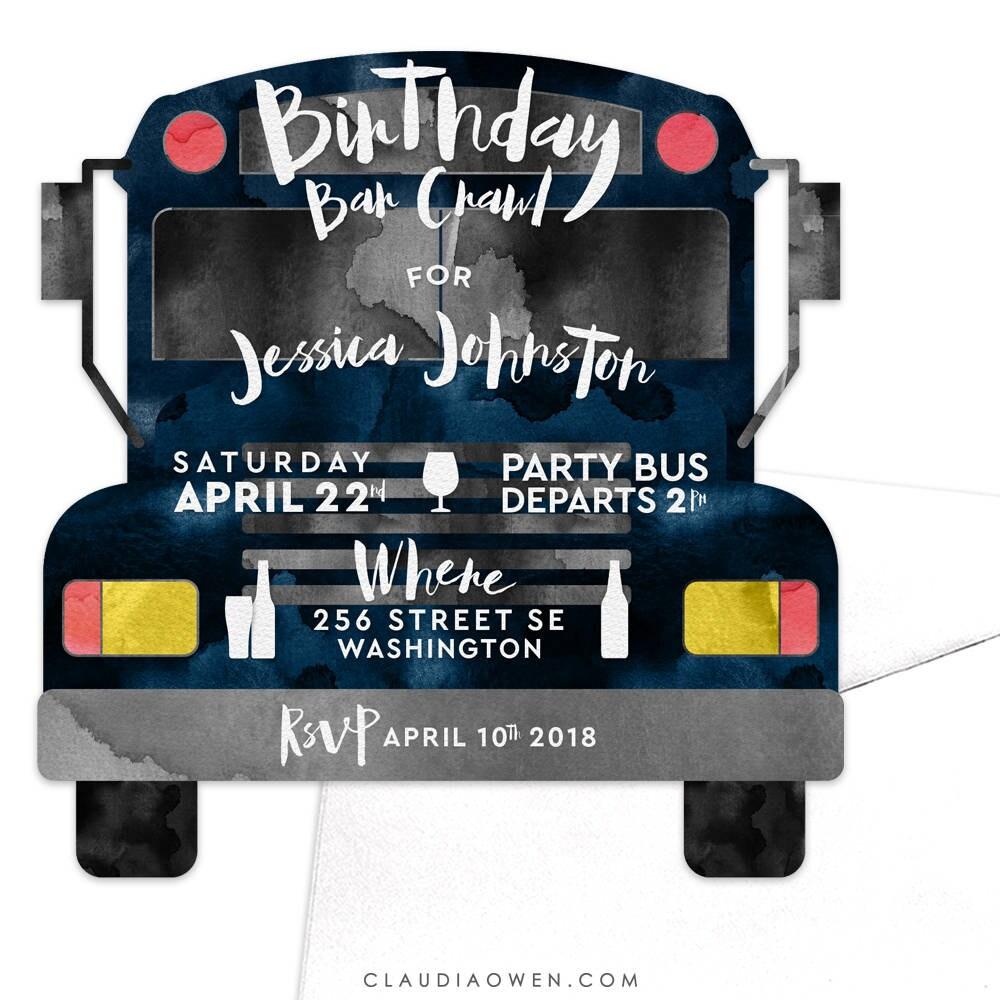 Party-Bus-Einladung-Geburtstag-Bar kriechen Pub kriechen