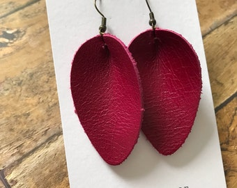 Leather Teardrop Earrings, cranberry crave