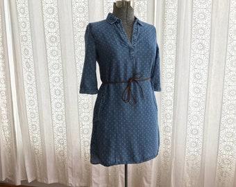Rayon mini dress // Denim look print tunic dress